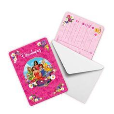 Nodig vriendjes en vriendinnetjes uit voor het kinderfeestje met deze vrolijke prinsessen uitnodigingen Prinsessia. Per set: 8 kaarten. Afmeting: 20 x 12 cm - Uitnodigingen Prinsessia, 8st.
