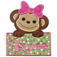 Girl Monkey Machine Embroidery Design by SimplySweetEmbroider, $4.00