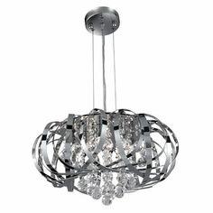 £230. Searchlight 6975-5CC Tilly Chrome & Crystal Pendant - Home Lighting Store UK