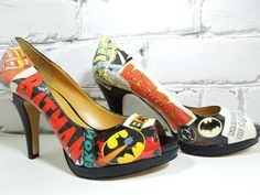 Comic Book Heels. Batman. WOW. BAM. POW. Wedding Day. Birthday. Sexy Cool and Geeky. Girls Nite/Date Nite. Concert. Convention. on Etsy, $85.00