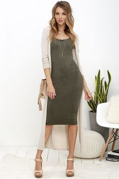bffaaa6a52c Have it Suede Olive Green Midi Dress