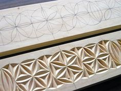 Detail of wooden valances / decorative moulding, showing stages of carving (Made and carved by Dave Melnychuk)