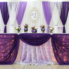 Love this but with no lace and more plum color😍 Indoor Wedding Receptions, Wedding Reception Decorations, Wedding Centerpieces, Wedding Table, Diy Wedding Flowers, Purple Wedding, Wedding Colors, Wedding Stage Backdrop, Elegant Table Settings
