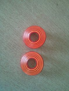 OWNED (Etsy circular stud quilling paper earrings, light orange and red)