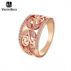 Rings  VALEN BELA Rose Gold Flower Cubic Zirconia Rings Women Size 6,7,8,9 Female Gold Plated Wedding Ring Jewelry Wholesale JZ5167 -- Clique no botão VISITAR para obter uma descrição detalhada