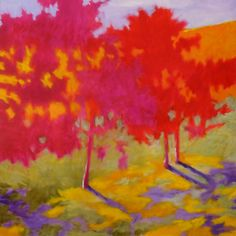 """Shadow and light fight for dominance in Marshall Noice's """"Three, Full Color"""". Light wins in the nebula of leaves, and shadow reigns on the lawn below. #art #fineart #painting #arttovisit #gallery #painter #artist #artalive #lifeofanartist #supportart #artbeat #modernart #contemporaryart #santafe #newmexico #canyonroad #okeeffecountry #newmexicotrue #southwest #fall #autumn #seasons #red #orange #yellow #landscape #trees #forest #grass #shade #purple"""