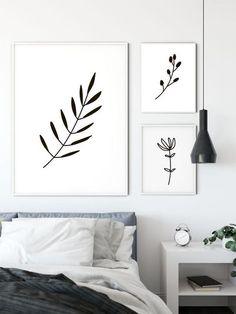 Set of 3 Leaf Flower Prints | Home decor | Wall Art | Unframed Prints | A3 A4 A5 Digital