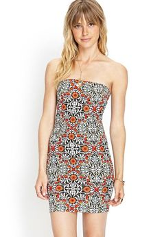Love 21 - A stretch-knit tube dress featuring a baroque print. . Unlined. 72% cotton, 24% nylon, 4%...