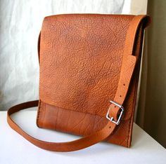 Brown leather messenger bag for him or her by FatCatLeather