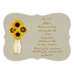 Rustic Yellow Mason Jars Bachelorette Party Invite