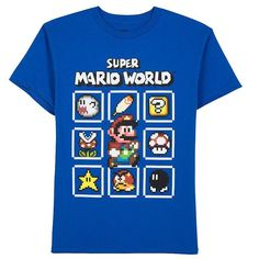 Boys 8-20 Super Mario World Pix Pack Tee, Boy's, Size: Medium, Med Blue