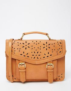 Image 1 ofASOS Leather Satchel Bag With Cut Out Detail