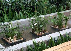 Mesmo fechada em uma caixa de cimento de 1,60m de comprimento, a fonte parece desaguar no caminho de seixos maranhão que percorre este corredor nos Jardins, em São Paulo. autora do jardim com jeitinho brejeiro, a paisagista Paula Galbi apostou em maciços ordenadamente volumosos, que dão a sensação de estarem dentro d'água. Bromélias diversas (1), barbas-de-serpente variegadas (2), clúsias (3), dracenas-arbóreas (4), íris-tigresa (5) e papiros (6) correm pelos dois l