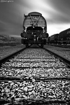 Abandoned trains.