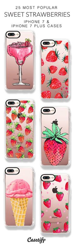25 Most Popular Sweet Strawberry iPhone 7 Cases & iPhone 7 Plus Cases.