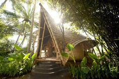 Designer Elora Hardy and architects PT Bambu, designed a complex of buildings which made of bamboo in a beautiful valley on the island of Bali, Indonesia. These unique bamboo house, repeat the office of land on which they are built, and offers magnificent views of the river, tropical forests and volcanoes.