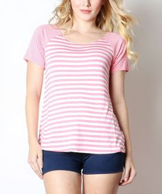 Coral & White Striped Scoop Neck Top - Plus