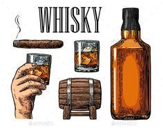 Whiskey Glass, Barrel, Bottle and Cigar
