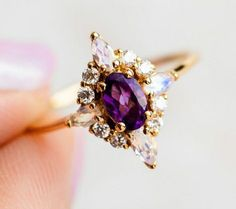Pink Lady Ring with Amethyst Amethyst Wedding Rings, Amethyst Jewelry, Unique Rings, Beautiful Rings, Amythest Ring, Purple Rings, Gold Plated Rings, Summer Jewelry, Purple Amethyst