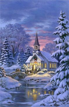 """Country Church"" by Robert Gauthier-Christmas Painting Christmas Scenes, Christmas Past, Christmas Pictures, Winter Christmas, Christmas Crafts, Christmas Decorations, Xmas Holidays, Country Christmas, Kinkade Paintings"