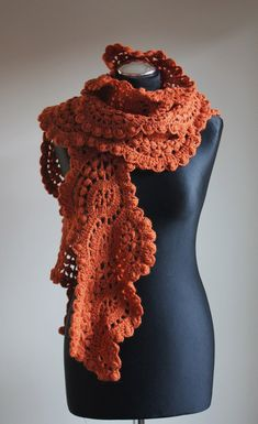 Crocheted long lace scarf in pumpkins color by iveta67 on Etsy - $49.00