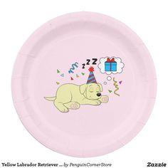 Yellow Labrador Retriever Puppy Birthday Dreaming Paper Plate