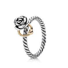 PANDORA | Silver ring, 14k wish it was mine.....