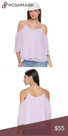 Cold shoulder angel sleeve top PRODUCT DETAILS Fabulous style is yours in this women's Jennifer Lopez cold shoulder top.  PRODUCT FEATURES Cold shoulder details for a modern look Layered design Scoopneck 3/4-length sleeves FABRIC & CARE Polyester Machine wash Tops