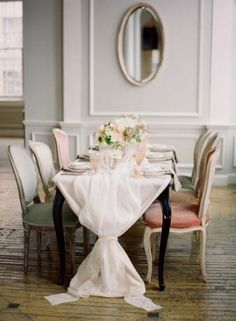 What a glam table runner! I adore this setup, bride wants to do this but with burlap!