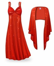 NEW! Customizable 2-Piece Red Glimmer & Sequins Plus Size & SuperSize Princess Seam Dress Set Lg XL 0x 1x 2x 3x 4x 5x 6x 7x 8x 9x