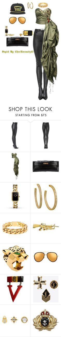 """Sir yes sir"" by cherhorowitz95 ❤ liked on Polyvore featuring Balenciaga, Moschino, Hermès, Chanel, Cartier, Jeremy Scott, Linda Farrow, Yves Saint Laurent and Henri Bendel"