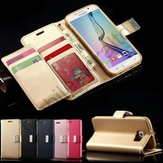 Luxury PU Leather Wallet Cover Flip Phone Case For Samsung Galaxy Models