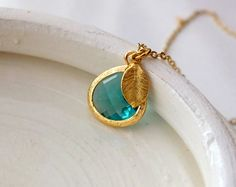 Blue Zircon Pendant and Gold Leaf on a Gold Filled by BeadingTimes, $22.00