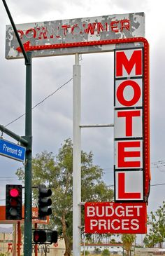 Faded Downtowner Motel Sign on Fremont Street and 8th Street