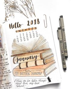 Bullet journal monthly cover page, January cover page, hand lettering, book drawing. | @bujoxdreams