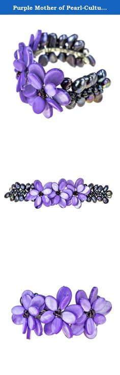 Purple Mother of Pearl-Cultured Freshwater Pearl Cluster Flower Cuff Bracelet. This gorgeous mother of pearl (dyed), cultured freshwater pearl (dyed), and crystal cuff bracelet from Thailand is an elegant statement piece. Versatile and full of color, this artisan crafted bracelet will compliment your natural beauty and charm. PLEASE NOTE:The handcrafted nature of this product will produce minor differences in design, sizing and weight. Variations will occur from piece to piece…