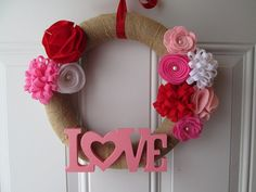 Valentine's Day Wreath Burlap Wreath Red Pink White Felt Flowers Floral Wreath Valentine Decor