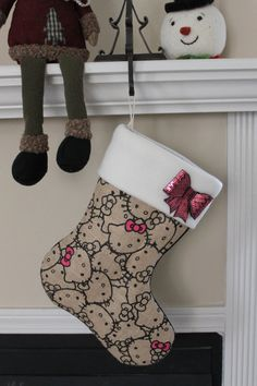 Hello Kitty Burlap Christmas Stocking with by HandmadeDesignsbyBB, $28.00