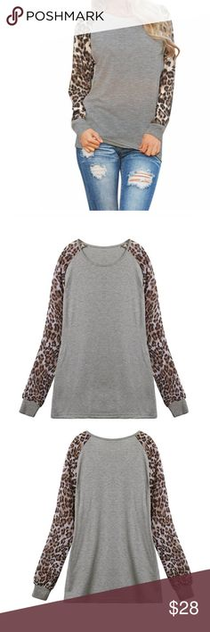 🌺S-3X Cute Pullover leopard print top Material: Cotton+Chiffon+Polyester . Long sleeves. Price firm unless bundled.💖 Tops
