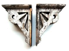 Antique Corbels and Brackets | Architectural Salvage Antique Wood Corbels Victorian Era Old Painted