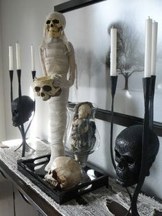 Mummy says it's time to wrap up your #Halloween decorating at #HomeGoods - Mix your everyday decor with a little skull style & torn gauze as runner to create a spooky vignette! #HomeGoodsHappy #HappyByDesign Lynda Quintero-Davids #FocalPointStyling on Houzz