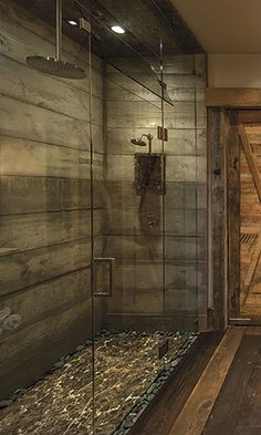 Is This Wood? Or Wood-look Tile? - Page 5 of 6 - Cowgirl Magazine Rustic Bathroom Shower, Wood Tile Shower, Tile Walk In Shower, Shower Cabin, Master Shower, Master Bathroom, Bathroom Small, Shower Doors, Cabin Bathrooms
