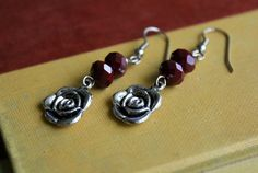 Antique Silver Rose Charm Earrings Burgandy Red by tortugasdesign, $6.95