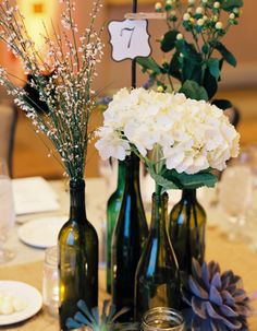 Table number and bud vase cluster #wedding #wine bottle #centerpiece #number