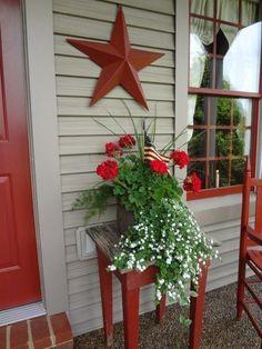 Country Decor, Farmhouse Decor, Vintage Farmhouse, Red Geraniums, Primitive Homes, Decks And Porches, Patriotic Decorations, Xeriscaping, Front Door Decor
