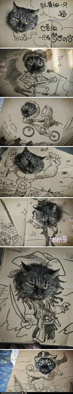 Cardboard box cat art