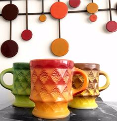 Fire King Mugs / Milk Glass / Geometric by hopscotchmemories