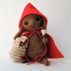 Little Red Riding Rabbit, needle felted toy/art. Needle Felted Animals, Felt Animals, Needle Felting, Textiles, Somebunny Loves You, Art Textile, Handmade Felt, Felt Dolls, Felt Art