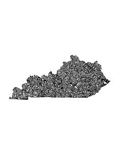 Kentucky Art Print - This piece features the state formed from each county's name written in the proper place and shape of that county. - Fine art print - Printed on Ultra Premium Lustre Paper - Shown