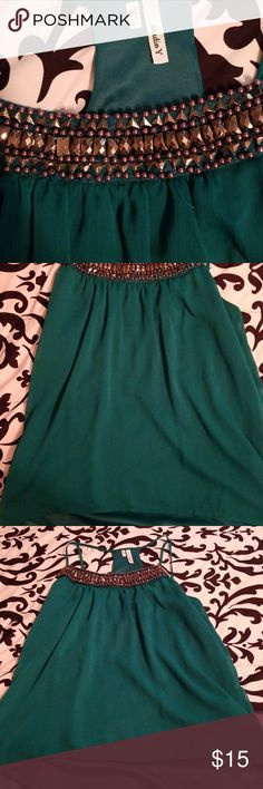 Jeweled high low top Beautiful green High low jeweled top - worn once Studio Y Tops Tank Tops